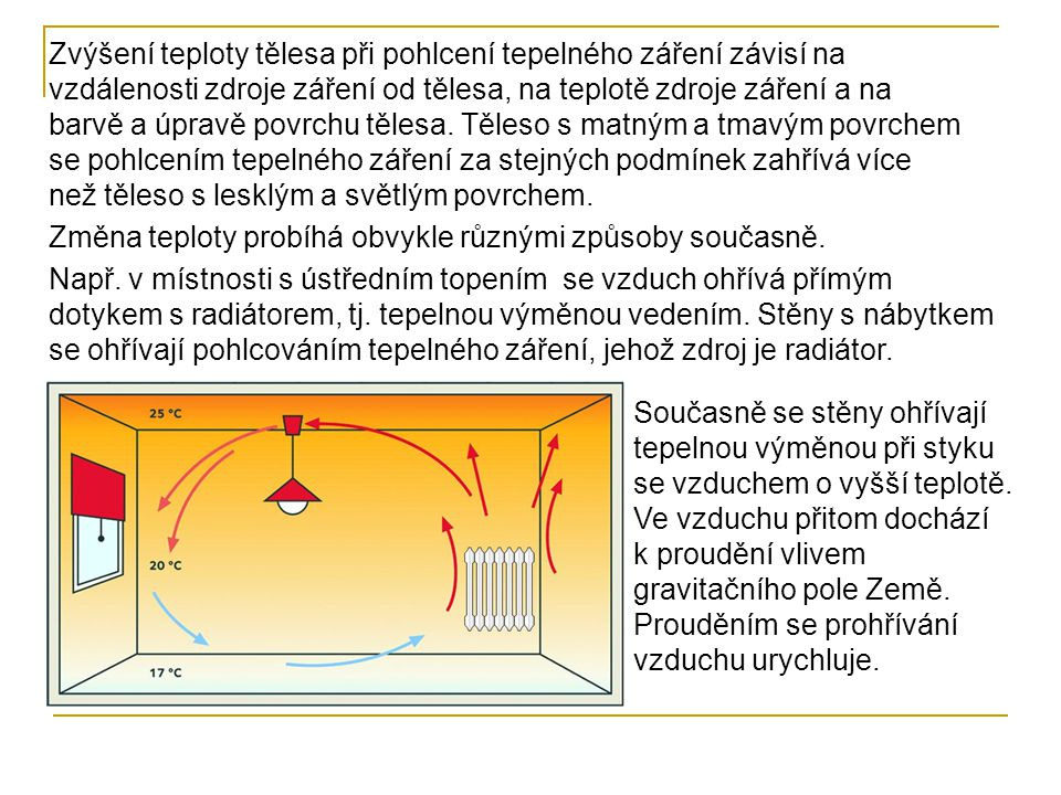 Zvýšení teploty tělesa při pohlcení tepelného záření závisí na vzdálenosti zdroje záření od tělesa, na teplotě zdroje záření a na barvě a úpravě povrchu tělesa. Těleso s matným a tmavým povrchem se pohlcením tepelného záření za stejných podmínek zahřívá více než těleso s lesklým a světlým povrchem.