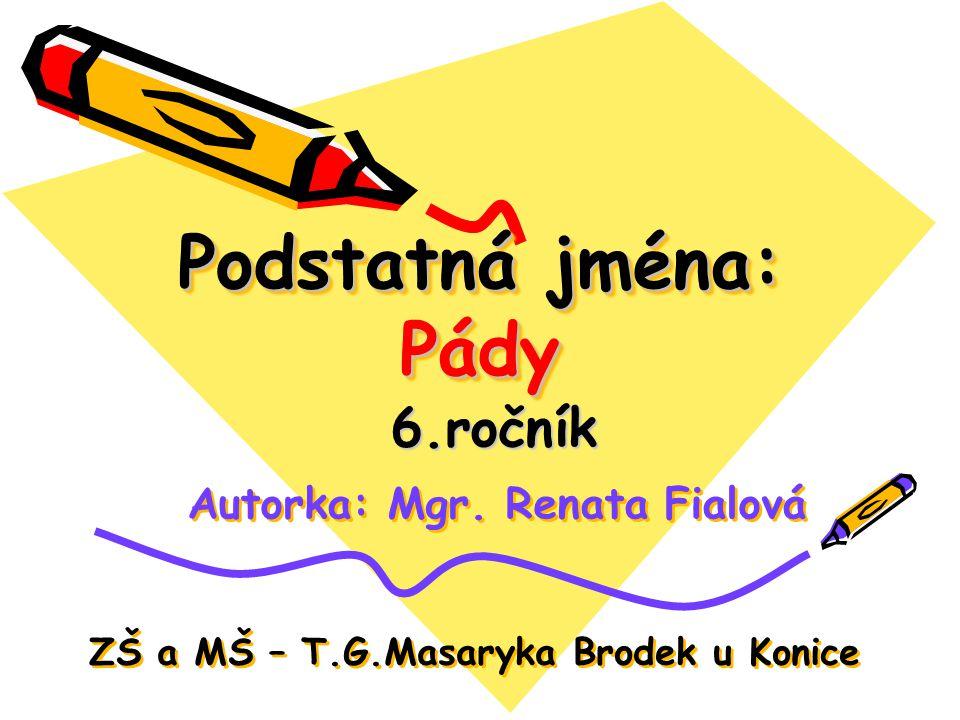Podstatná jména: Pády 6.ročník Autorka: Mgr. Renata Fialová