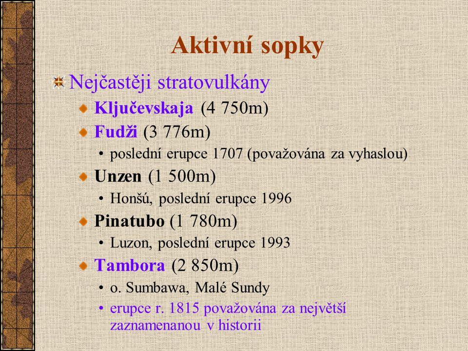Aktivní sopky Nejčastěji stratovulkány Ključevskaja (4 750m)