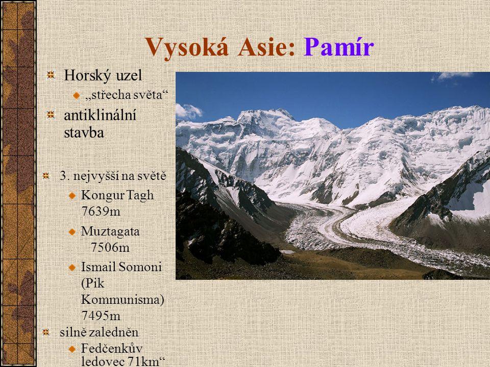 """Vysoká Asie: Pamír Horský uzel antiklinální stavba """"střecha světa"""
