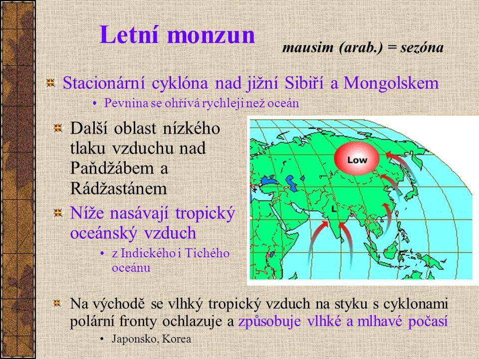 Letní monzun Stacionární cyklóna nad jižní Sibiří a Mongolskem