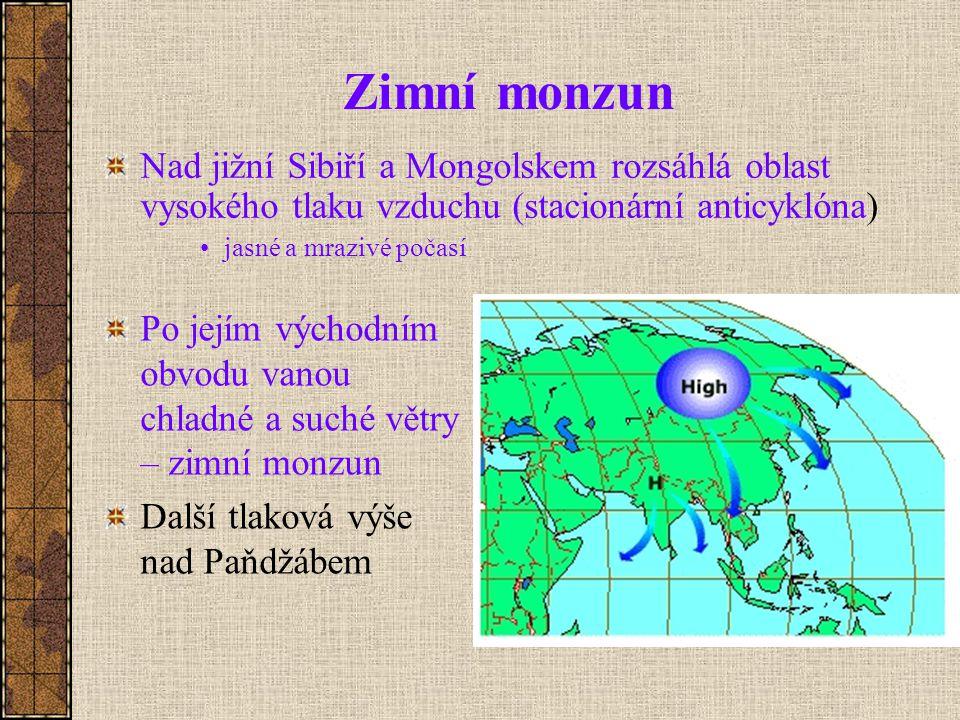 Zimní monzun Nad jižní Sibiří a Mongolskem rozsáhlá oblast vysokého tlaku vzduchu (stacionární anticyklóna)