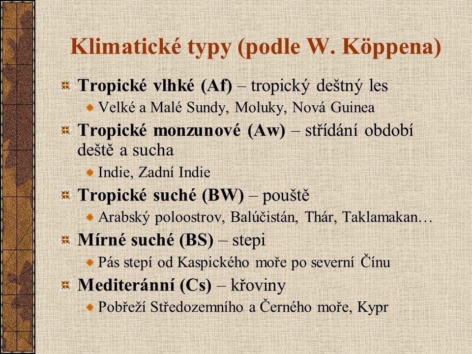 Klimatické typy (podle W. Köppena)