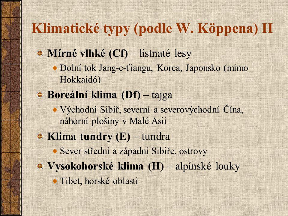 Klimatické typy (podle W. Köppena) II