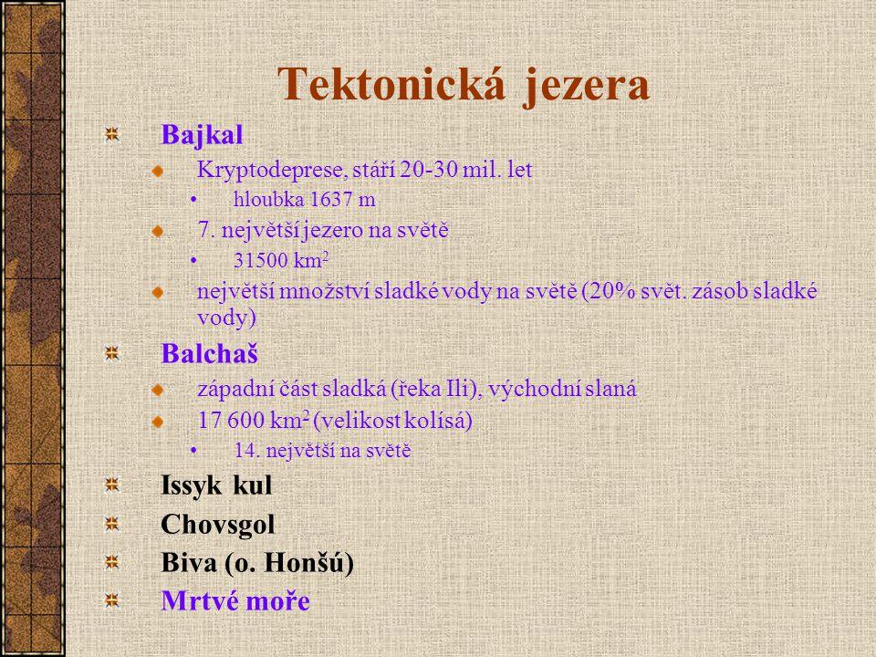 Tektonická jezera Bajkal Balchaš Issyk kul Chovsgol Biva (o. Honšú)