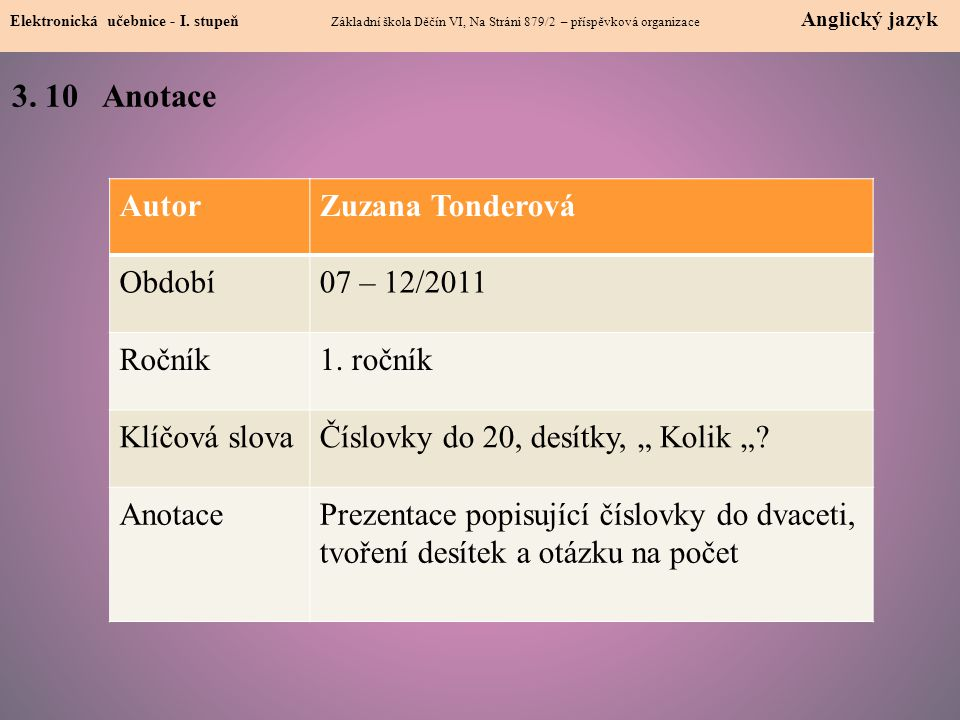 3. 10 Anotace Autor Zuzana Tonderová Období 07 – 12/2011 Ročník