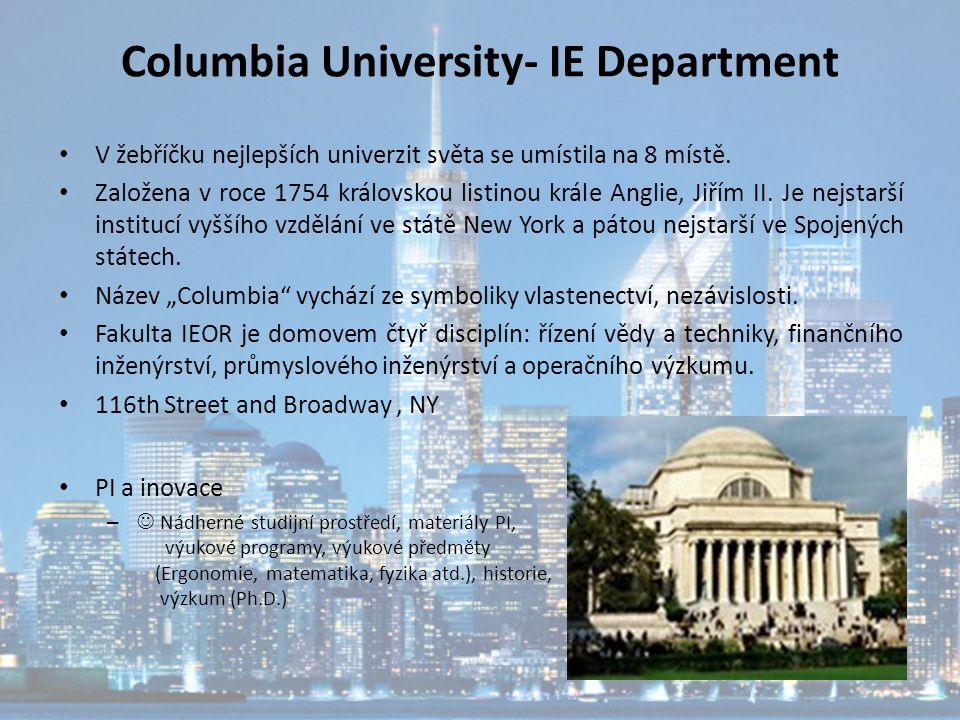 Columbia University- IE Department