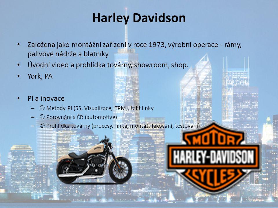 Harley Davidson Založena jako montážní zařízení v roce 1973, výrobní operace - rámy, palivové nádrže a blatníky.