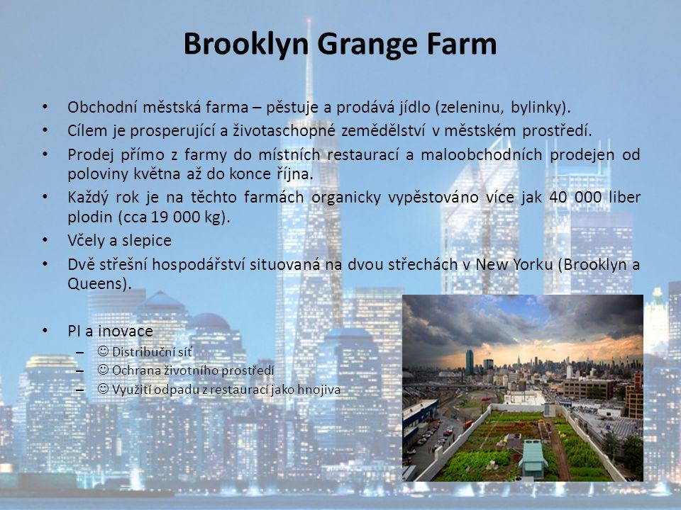 Brooklyn Grange Farm Obchodní městská farma – pěstuje a prodává jídlo (zeleninu, bylinky).