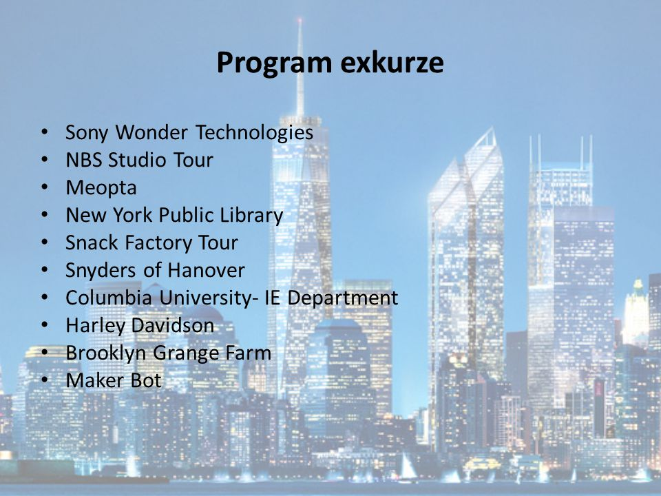 Program exkurze Sony Wonder Technologies NBS Studio Tour Meopta