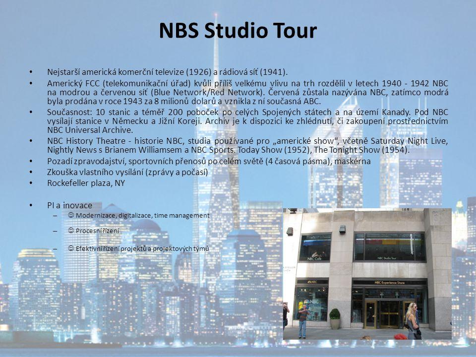 NBS Studio Tour Nejstarší americká komerční televize (1926) a rádiová síť (1941).