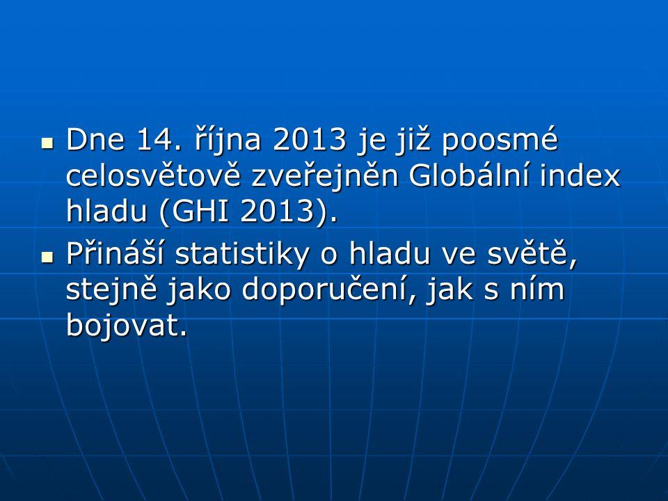 Dne 14. října 2013 je již poosmé celosvětově zveřejněn Globální index hladu (GHI 2013).