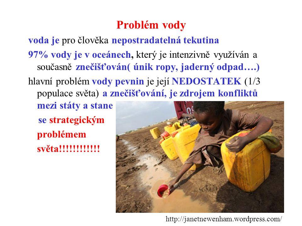 Problém vody voda je pro člověka nepostradatelná tekutina