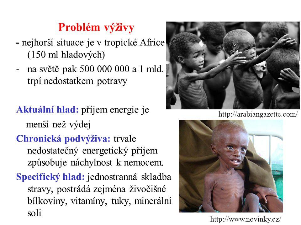 Problém výživy - nejhorší situace je v tropické Africe (150 ml hladových) na světě pak 500 000 000 a 1 mld. trpí nedostatkem potravy.