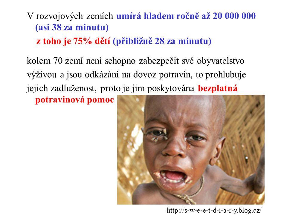 V rozvojových zemích umírá hladem ročně až 20 000 000 (asi 38 za minutu) z toho je 75% dětí (přibližně 28 za minutu) kolem 70 zemí není schopno zabezpečit své obyvatelstvo výživou a jsou odkázáni na dovoz potravin, to prohlubuje jejich zadluženost, proto je jim poskytována bezplatná potravinová pomoc
