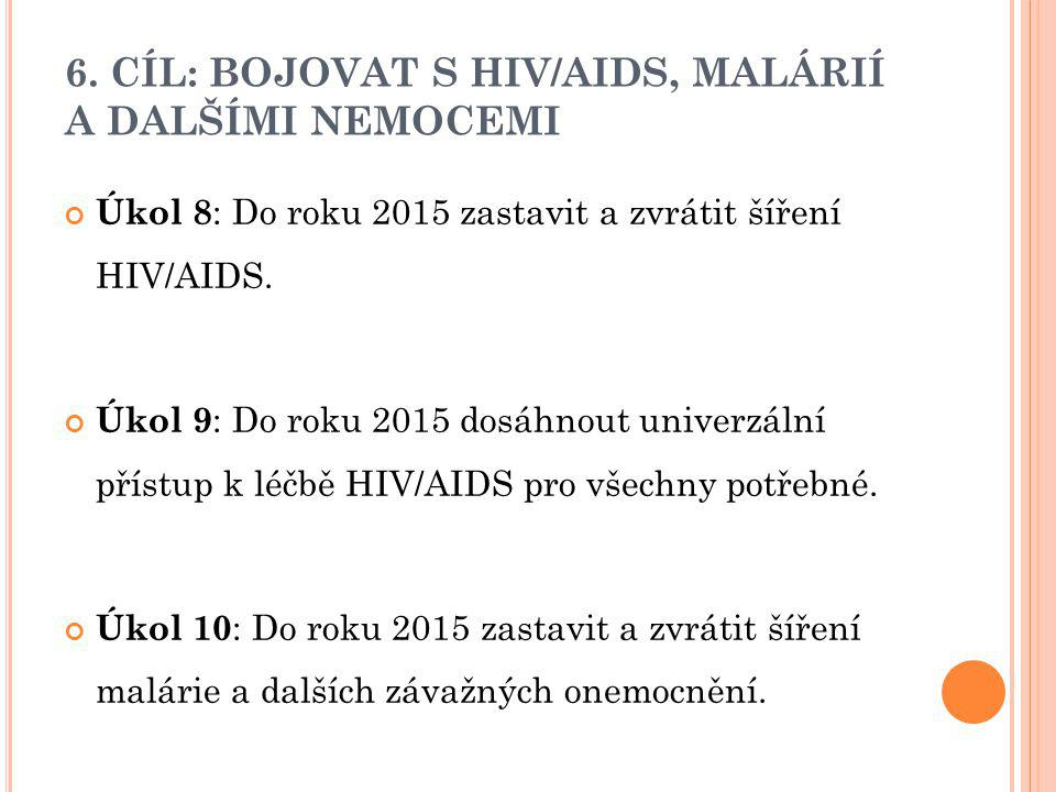 6. CÍL: BOJOVAT S HIV/AIDS, MALÁRIÍ A DALŠÍMI NEMOCEMI