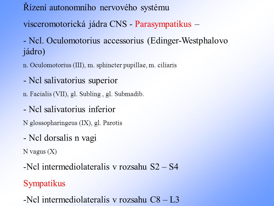 Řízení autonomního nervového systému