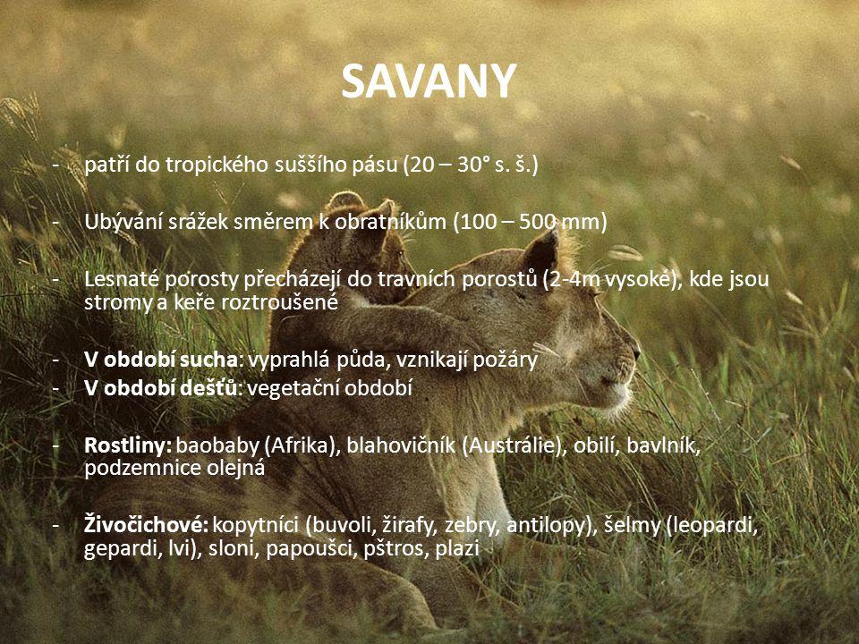 SAVANY patří do tropického suššího pásu (20 – 30° s. š.)