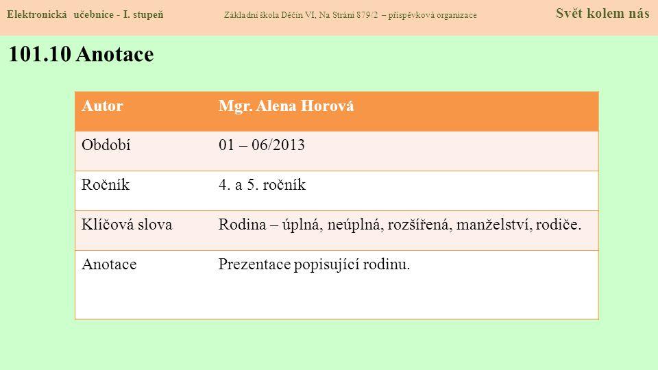 101.10 Anotace Autor Mgr. Alena Horová Období 01 – 06/2013 Ročník