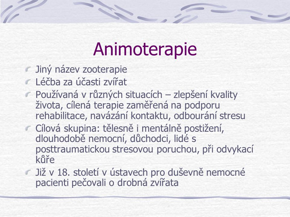 Animoterapie Jiný název zooterapie Léčba za účasti zvířat