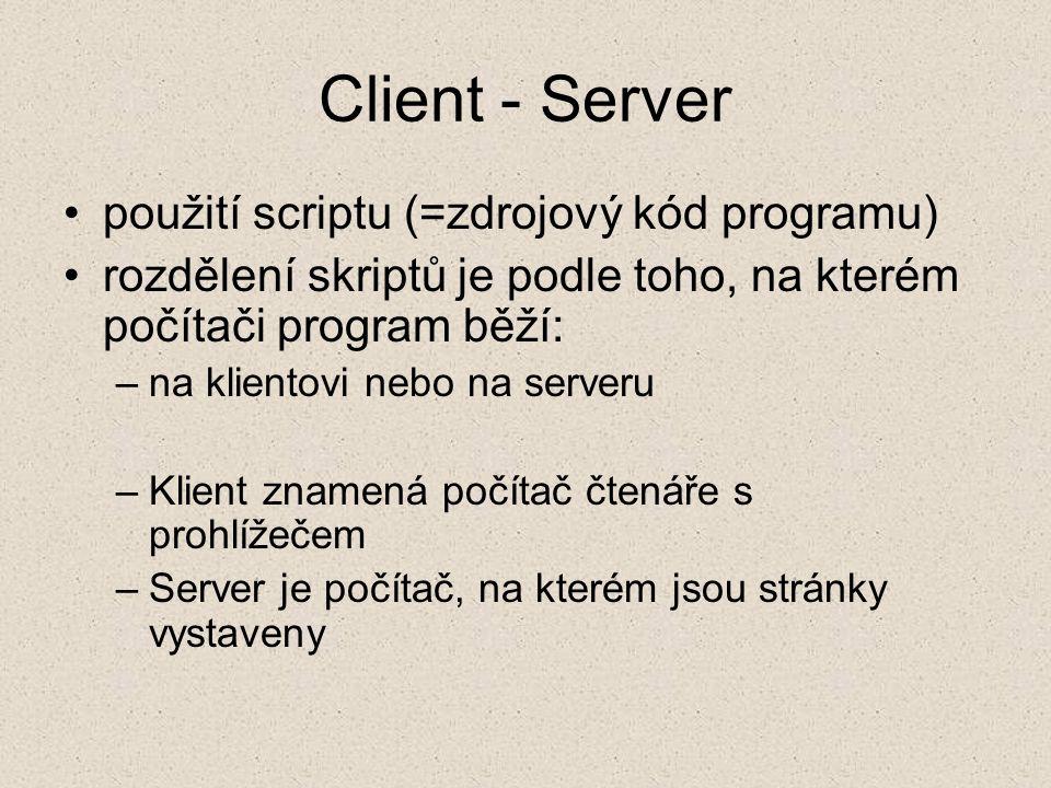 Client - Server použití scriptu (=zdrojový kód programu)