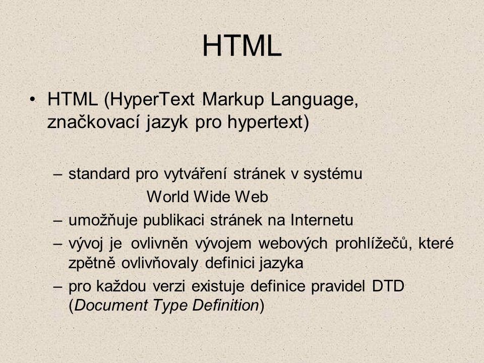 HTML HTML (HyperText Markup Language, značkovací jazyk pro hypertext)