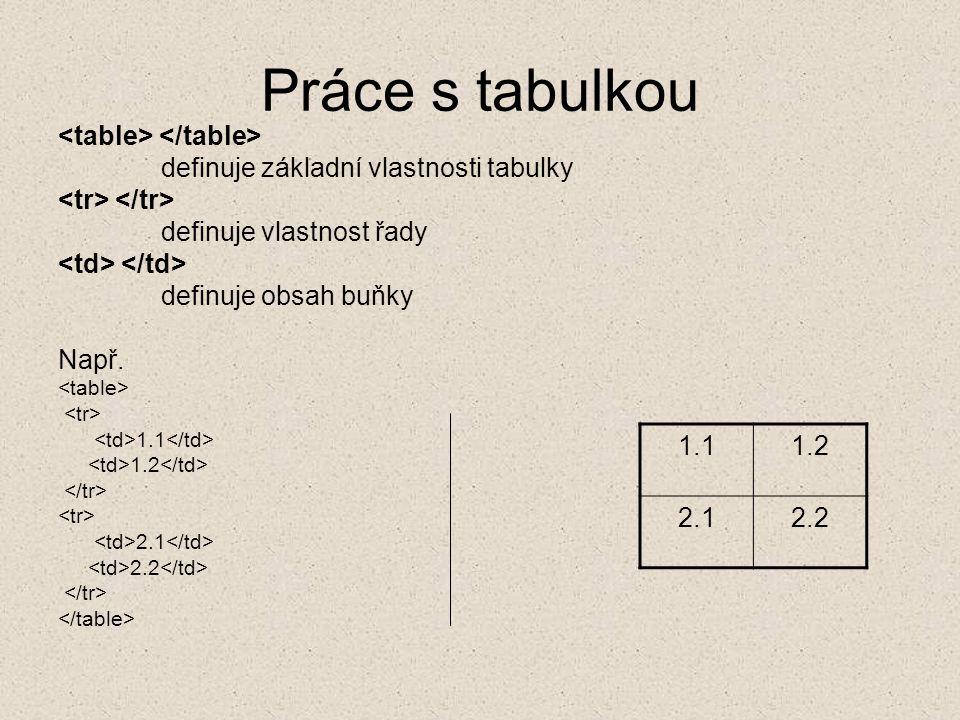 Práce s tabulkou <table> </table>