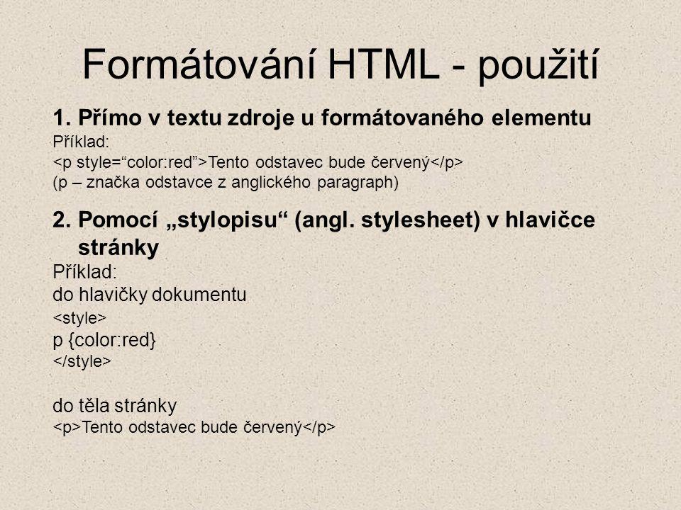 Formátování HTML - použití
