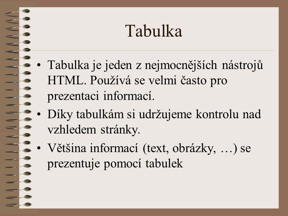 Tabulka Tabulka je jeden z nejmocnějších nástrojů HTML. Používá se velmi často pro prezentaci informací.
