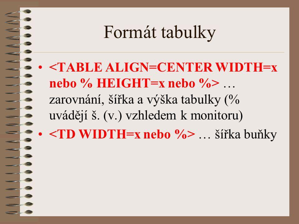 Formát tabulky <TABLE ALIGN=CENTER WIDTH=x nebo % HEIGHT=x nebo %> … zarovnání, šířka a výška tabulky (% uvádějí š. (v.) vzhledem k monitoru)