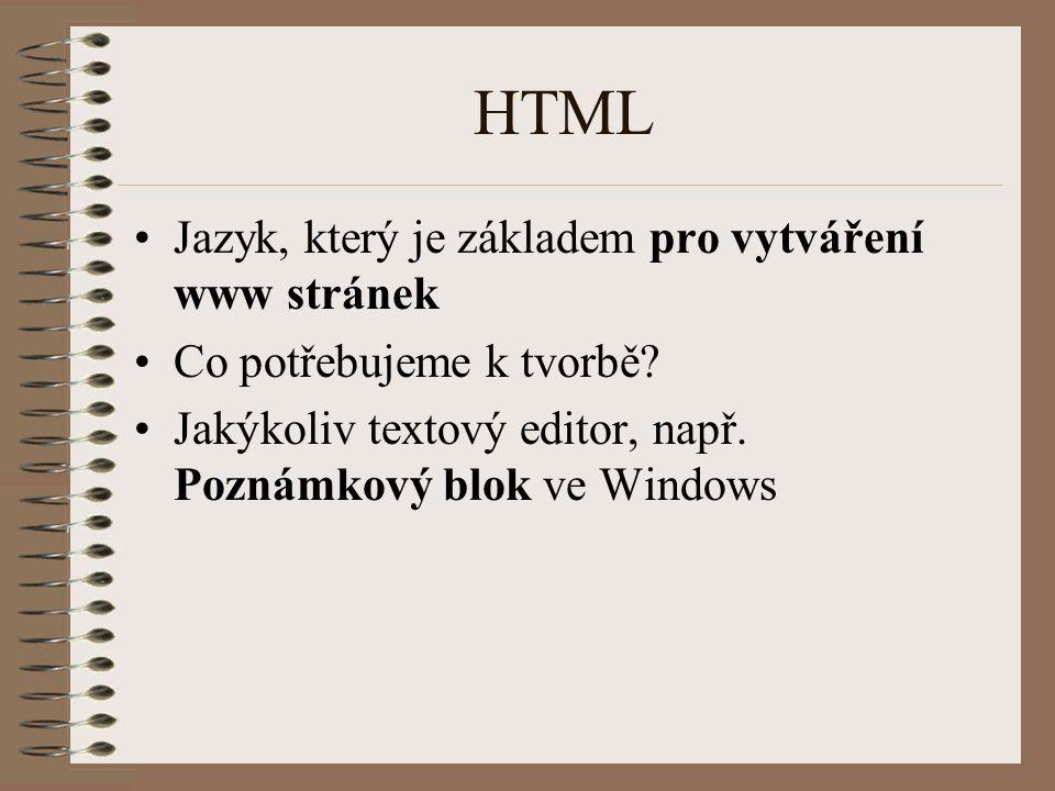 HTML Jazyk, který je základem pro vytváření www stránek