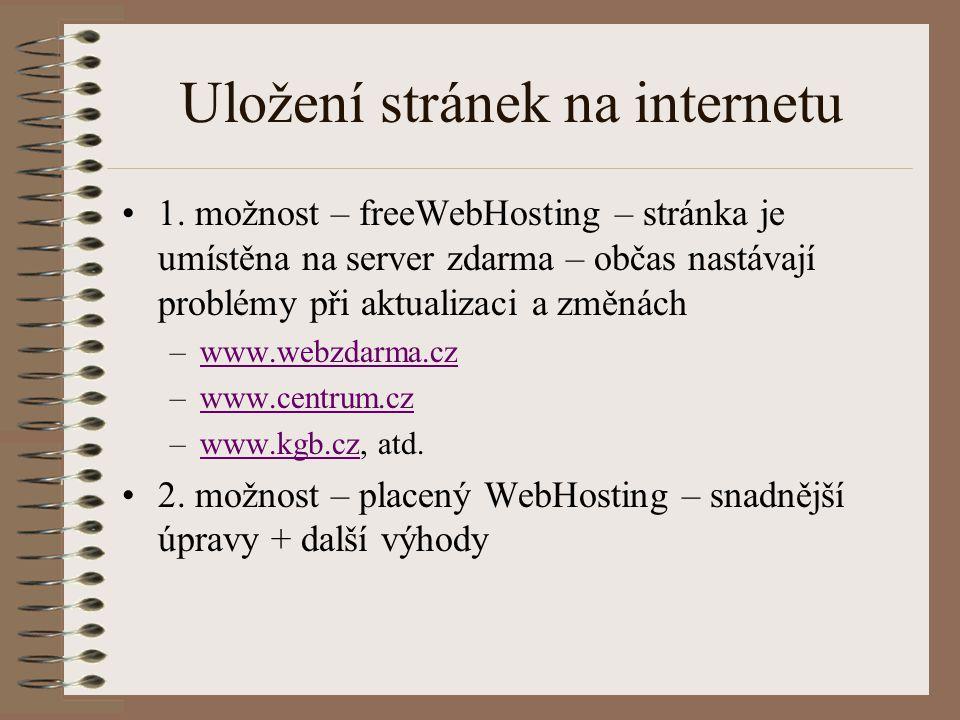Uložení stránek na internetu