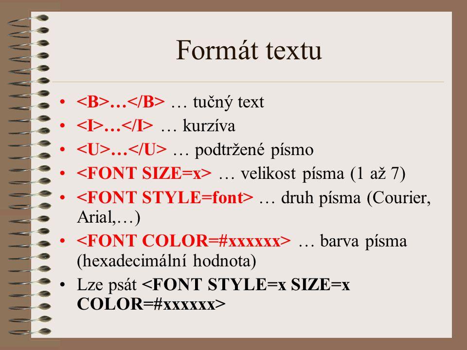 Formát textu <B>…</B> … tučný text