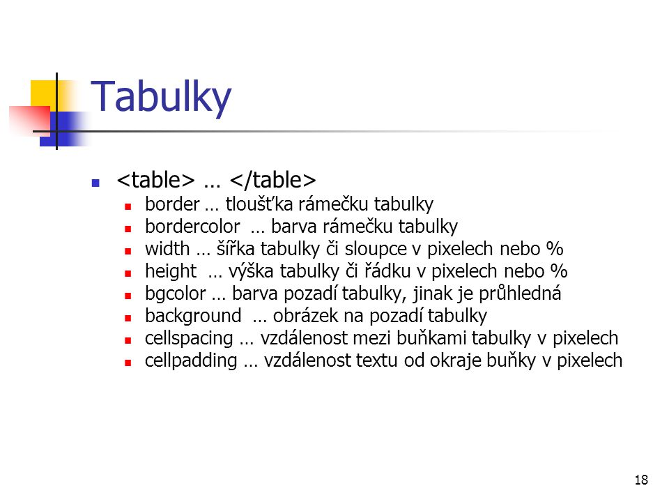 Tabulky <table> … </table>