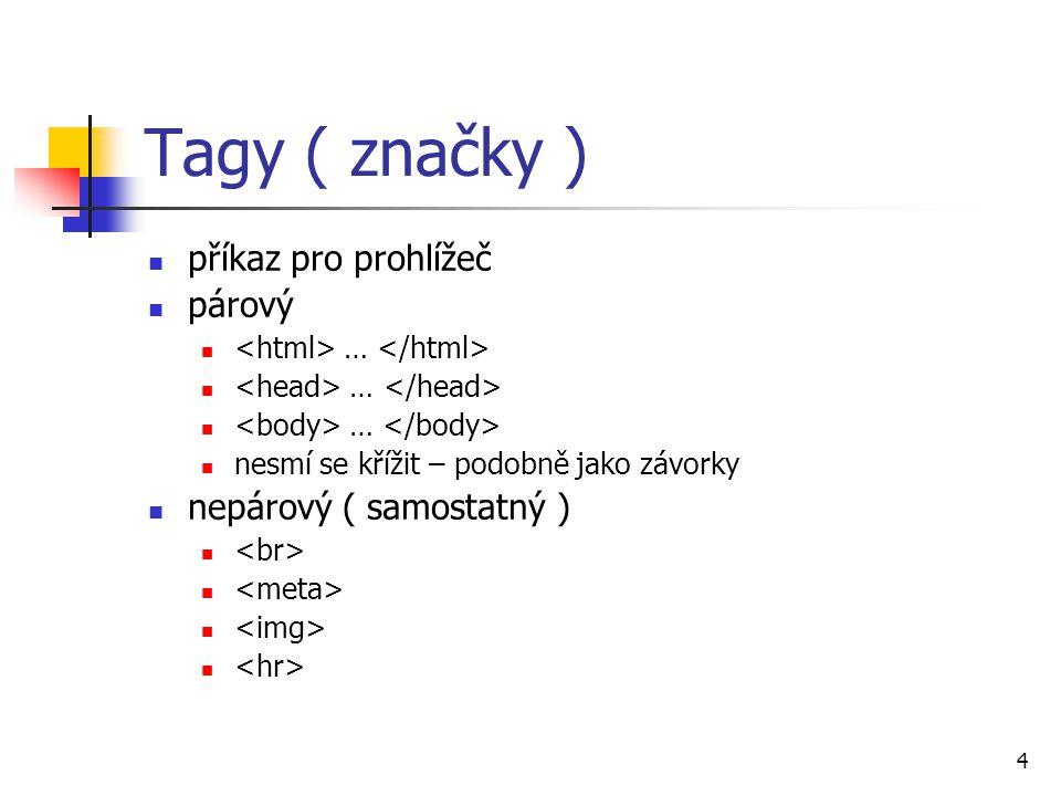 Tagy ( značky ) příkaz pro prohlížeč párový nepárový ( samostatný )