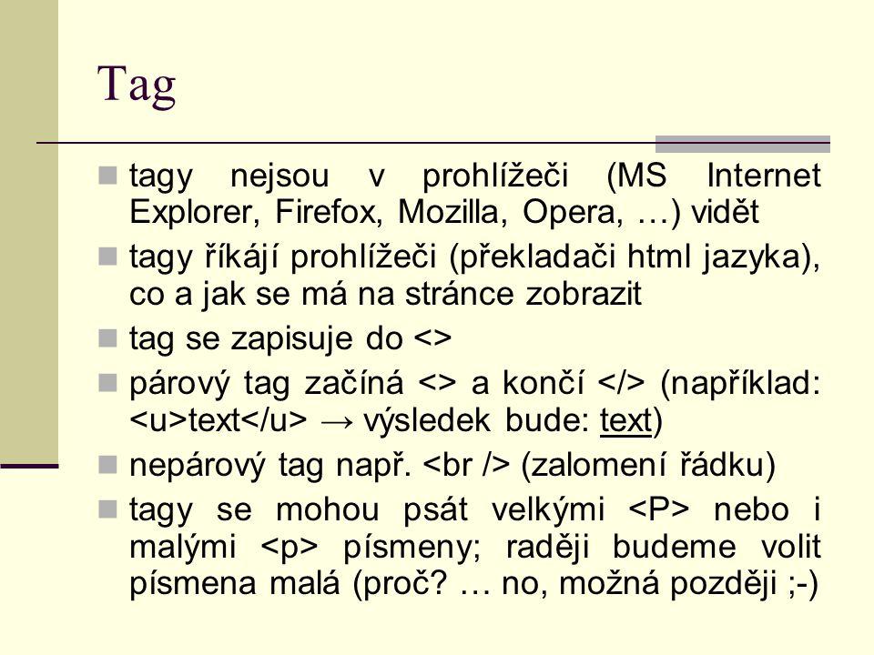 Tag tagy nejsou v prohlížeči (MS Internet Explorer, Firefox, Mozilla, Opera, …) vidět.