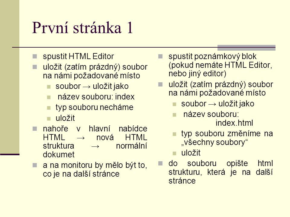 První stránka 1 spustit HTML Editor