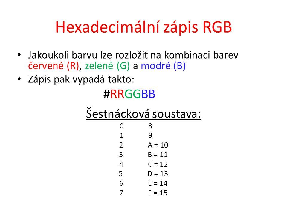 Hexadecimální zápis RGB