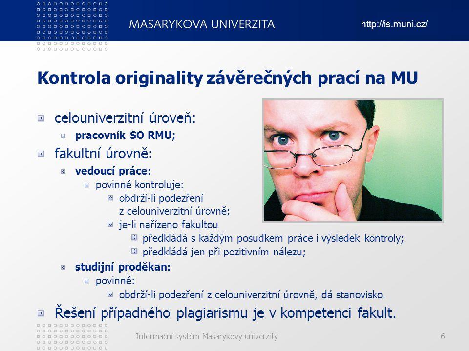 Kontrola originality závěrečných prací na MU
