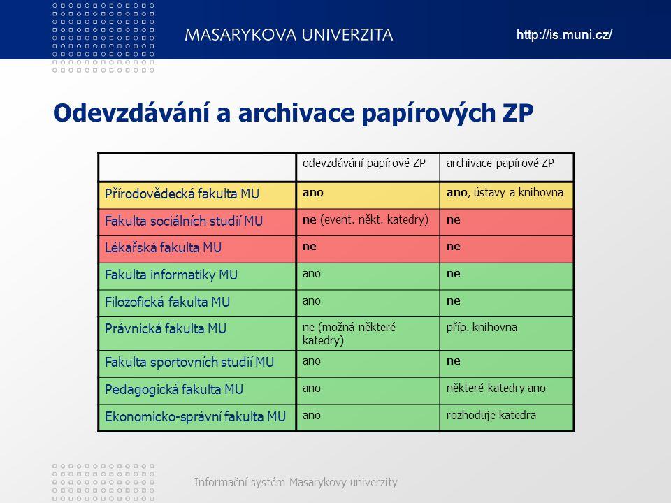 Odevzdávání a archivace papírových ZP