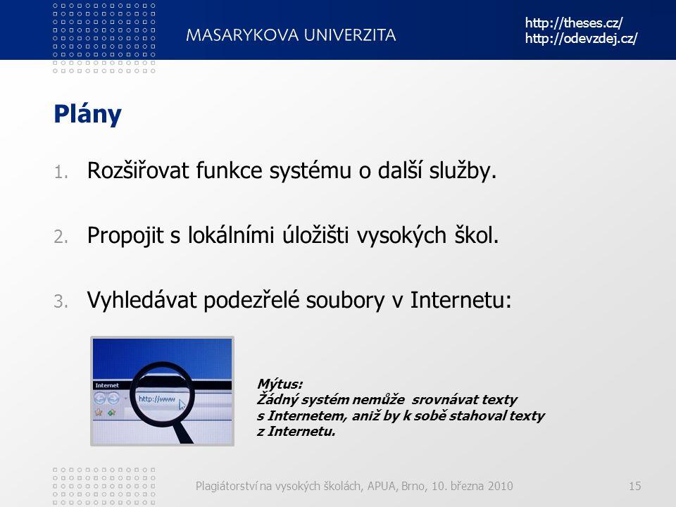 Plány Rozšiřovat funkce systému o další služby.