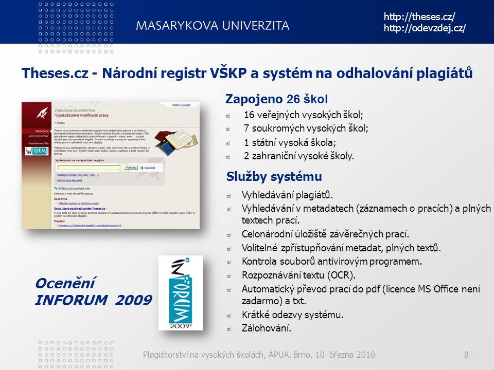 Theses.cz - Národní registr VŠKP a systém na odhalování plagiátů