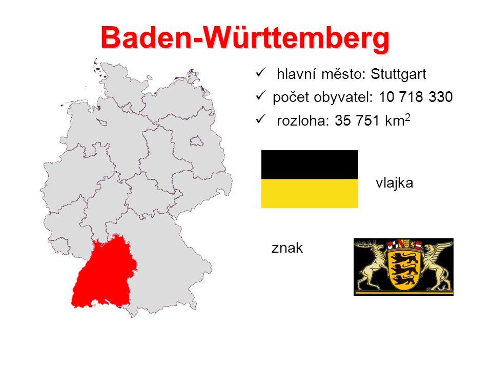 Baden-Württemberg hlavní město: Stuttgart počet obyvatel: 10 718 330