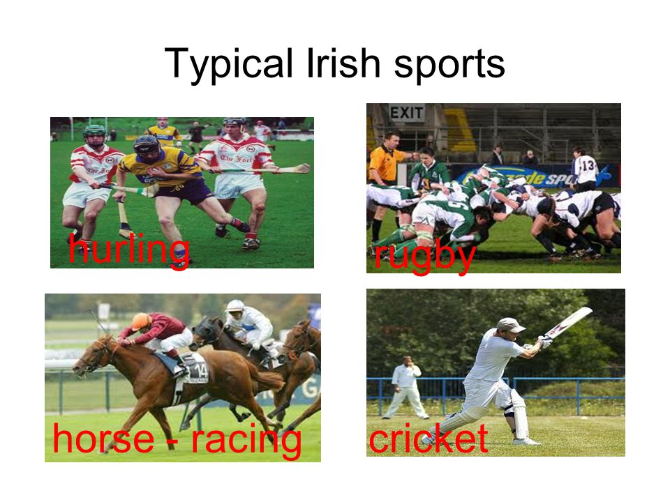 Typical Irish sports hurling rugby horse - racing cricket tennis rugby