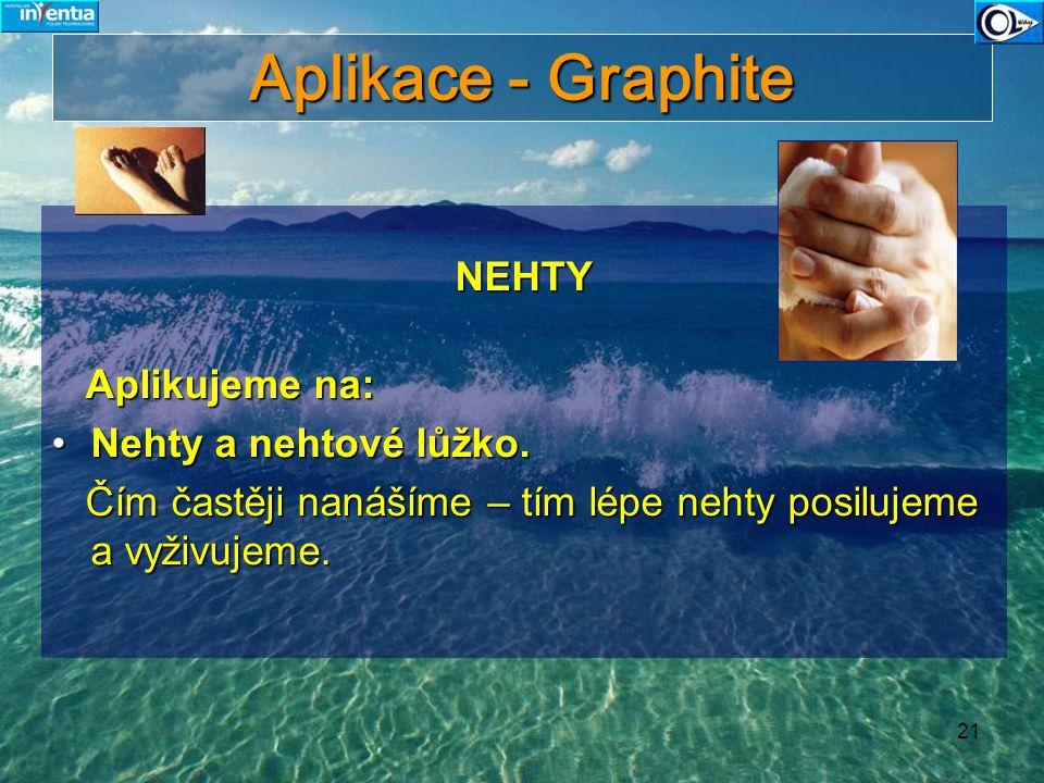 Aplikace - Graphite NEHTY Aplikujeme na: Nehty a nehtové lůžko.