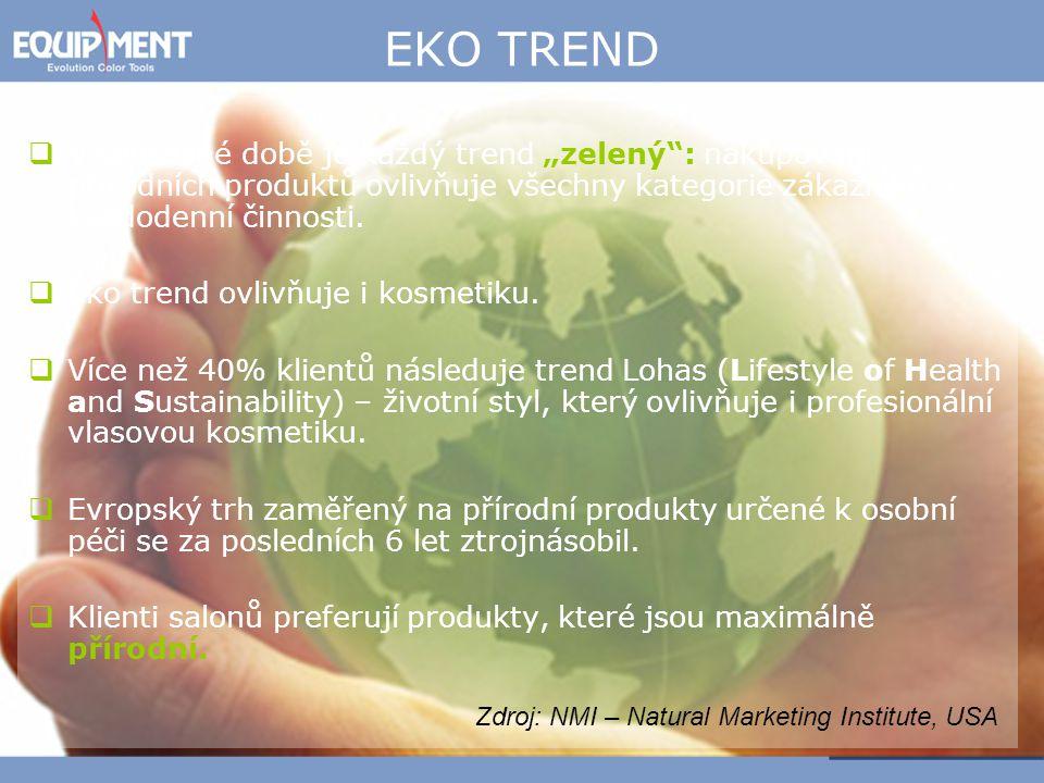 """EKO TREND V současné době je každý trend """"zelený : nakupování přírodních produktů ovlivňuje všechny kategorie zákazníků a každodenní činnosti."""