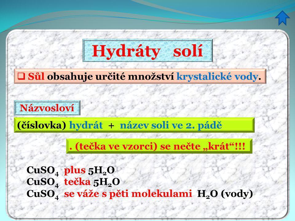 Hydráty solí Sůl obsahuje určité množství krystalické vody. Názvosloví