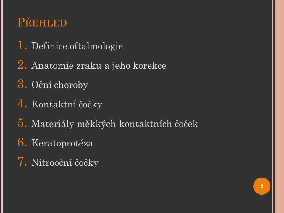 Přehled Definice oftalmologie Anatomie zraku a jeho korekce