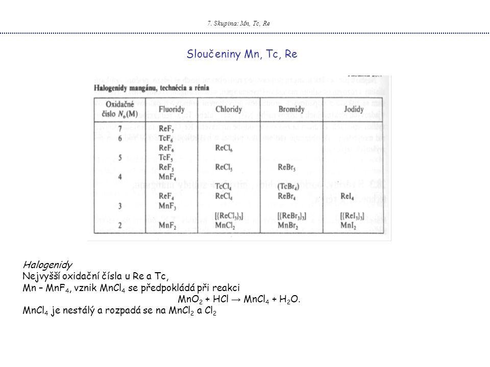 Sloučeniny Mn, Tc, Re Halogenidy Nejvyšší oxidační čísla u Re a Tc,