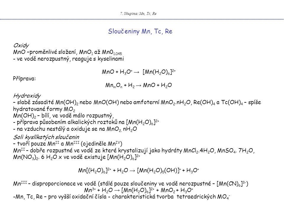 Sloučeniny Mn, Tc, Re Oxidy MnO –proměnlivé složení, MnO1 až Mn01.045